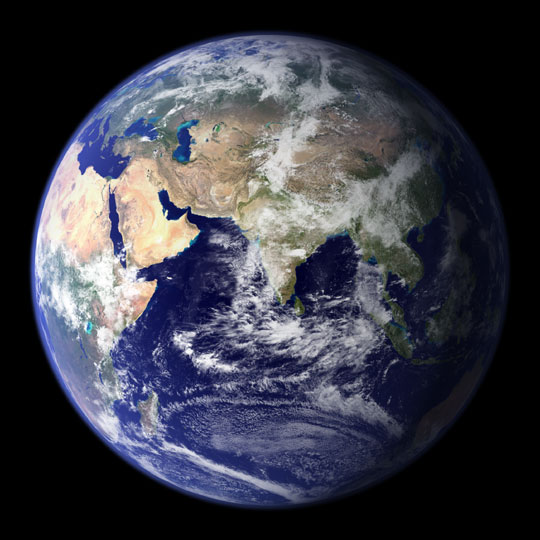 Blue Marble of the East Globe